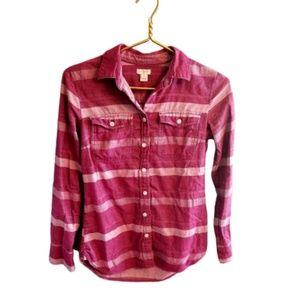 || J CREW FACTORY || XXS Pink Stripe Flannel Top